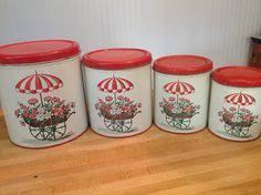 vintage 1950s metal red kitchen canister set by vintagewhitepicket