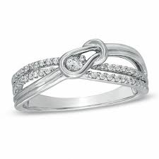 knot promise ring 1 8 ct t w everlon diamond knot promise ring in sterling silver
