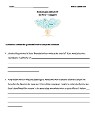 romeo and juliet act 4 imagery worksheets and activities