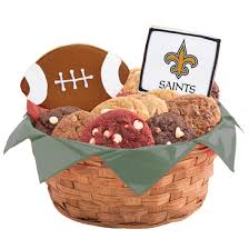 new orleans gift baskets nfl new orleans saints cookie basket cookies by design