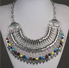 coloured statement necklace images Silver cleopatra statement necklace with multi coloured beads png