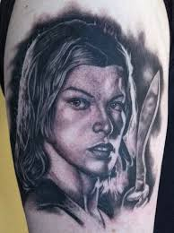 black and grey piece i did of alice from resident evil tattoo com