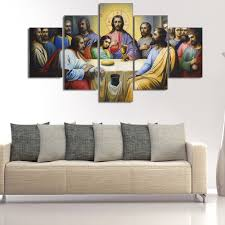 Jesus Home Decor by 5pcs Modern Hd Printed Jesus The Last Supper Home Decor For Living