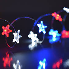 white blue patriotic mini string lights battery operated