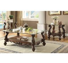 acme furniture versailles 3 pc clear glass coffee table set