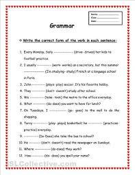 Printable Worksheets English Tenses   worksheets printable english grammar verb tenses