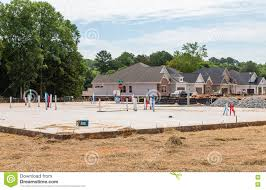 new home slab in residential lot stock photo image 74488060