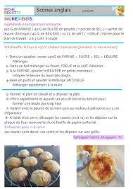 recette de cuisine a imprimer les astuces de fée paillette scones anglais fiche recette à imprimer