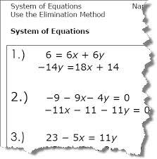 elimination method algebra worksheets algebra worksheets