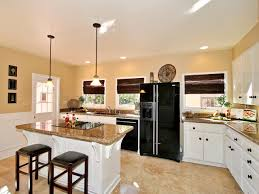 kitchen brown kitchen cabinets white refrigerator dark
