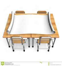 Small School Desk by Big Paper On School Desks Front View Stock Illustration Image