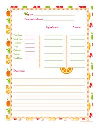 Planner Cucina Gratis by Orange Cherry Apple Background Recipe Card Full Page Free Recipe
