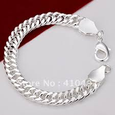 silver plated copper bracelet images Free shipping h101 factory price silver plated flat type chain jpg
