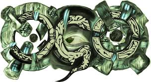 unique green biomechanical with eye tattoo design by alexanderbquin