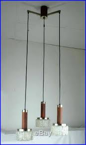 Mid Century Pendant Light 3 Light Mid Century Pendant Lamp Hillebrand Rosewood Glass Chrome