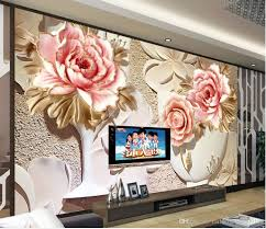 Tv Wall Decoration For Living Room by Photo Customize Size 3d Colorful Three Dimensional Flower Murals