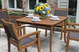eucalyptus square dining table with umbrella