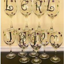 wine glass with initials wine glasses the polka dotted sunflower online store powered