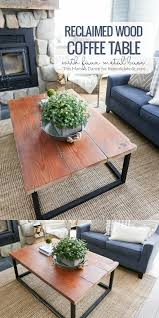 Coffee Table With Metal Base by Remodelaholic Diy Reclaimed Wood Coffee Table With Faux Metal Base