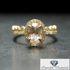 oval cut morganite engagement ring diamond halo matching art deco