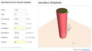 oberfläche zylinder höhe eines zylinders und oberfläche berechnen mathelounge