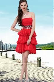 knee length tiered chiffon red graduation dresses with black belt