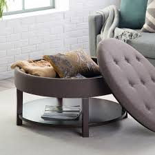coaster storage ottoman coffee table with trays round tufted