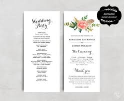 diy wedding program template printable wedding program template floral wedding program