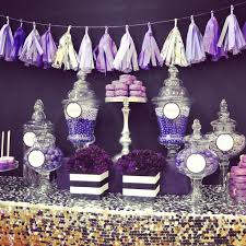 Candy Table For Wedding Purple Candy Bar Silver Sequins Table Linen Black And Whit