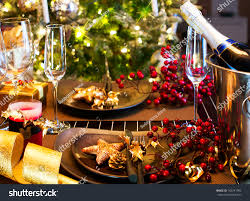 New Year Dinner Table Decoration by Christmas New Year Holiday Table Setting Stock Photo 162241982