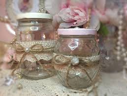 2 glass shabby chic jars decoupage roses lace handcrafted storage