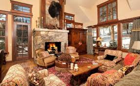 decorations small country house idea with leather armchairs in