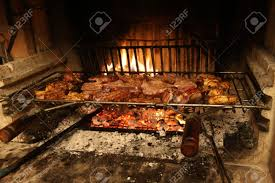 fireplace in the restaurant where you cook pork ribs and grilled