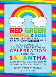 My Birthday Invitation Card Rainbow Birthday Invitations Kawaiitheo Com
