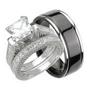 his and hers wedding his hers cz wedding ring set sterling silver and black plated