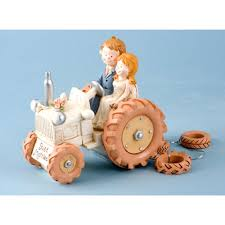 tractor cake topper retro and groom on tractor and groom on a tractor