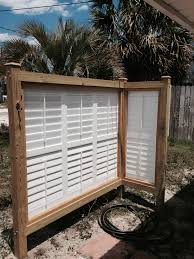 Teak Outdoor Shower Enclosure by Enclosure For Outdoor Shower Upcycled Vinyl Shutters View From