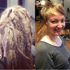 haircut on long blonde dreadlocks to a pixie cut youtube