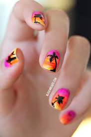 sunset brights orange pinks yellow fan brush stripes summer