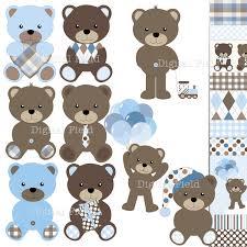 baby boy teddy bear clip art set blue brown digital clipart