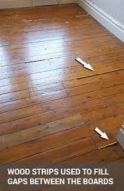 gap filling on floorboards with wood slivers