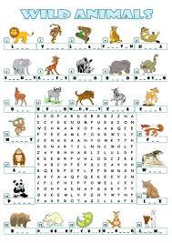 30 free esl animals wordsearch worksheets