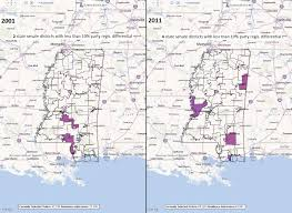 Mississippi State Map Mississippi State Senate Districts With Less Than 10 Party