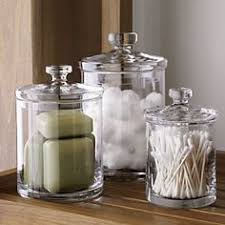 Glass Bathroom Storage Set Of 3 Glass Canisters In Bath Storage Crate And Barrel