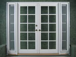 wood french doors exterior with outswing side windows painted with