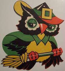 vintage halloween cut out owl on broom dave flickr