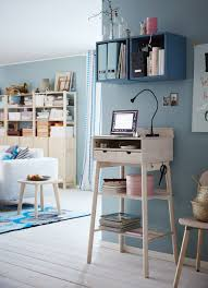 standing workstation in smooth natural wood