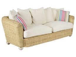 canapé tressé canapé et fauteuil en rotin tressé et tissu beige bondy