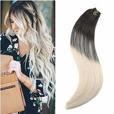 hair extension 7pcs ombre brown to platinum clip in human hair extension