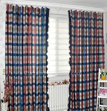 Blue Plaid Curtains Style Striped Blended Fabric Blue Plaid Curtains
